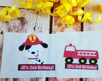 12 (2in) Personalized Fireman Themed Favor Stickers/ Adhesive Party Tags