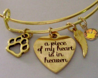 A Piece Of My HEART Dog Charm Bracelet W/ Birthstone Drop / INITIAL / Memorial Bangle  / Lost  Of Pet  Bracelet / Gift For Her  P1