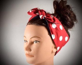 Polka dot headband, polkadot headband, pinup headband, head wrap, red headband, red polka dot hair wrap, vintage, rockabilly, hipster, cute