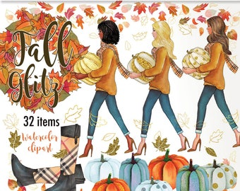 Fall clipart glitter pumpkins planner girl Autumn clipart African American Fashion Illustration leaves clipart watercolor printable henry