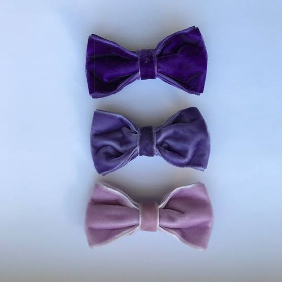 Purple 3 Pack - Luxe Velvet Medium Bow