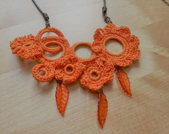 Necklace set, brooch or crochet flower hair clip