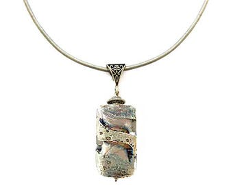 Murano Glass Rectangle Pendant by Mystery of Venice 'Gaia' in Stone Grey, Murano Glass Leather Necklace, Murano Glass Jewelry, Earth Jewelry