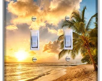 Palm Tree Clouds Sunset beach Ocean Light Switch Plate Cover Decor Bedroom Bathroom Beach House Print
