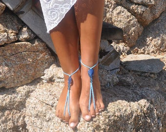 Something Blue Beach Wedding Barefoot Sandals Foot Jewelry Bohemian Wedding Sandals Boho Bride Barefoot Wedding Boho Jewelry Summer Jewelry
