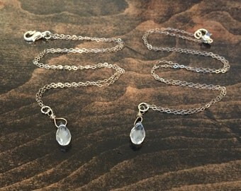 Clear, Quartz, Faceted, Crystal, Sterling Silver, Wire Wrapped, Necklace