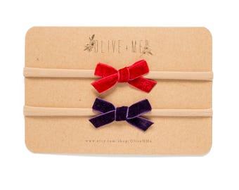 Red + Purple Velvet Bow Headbands | Set of 2