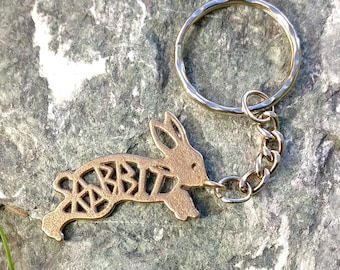 Rabbit keychain, rabbit keyring, rabbit gift, rabbit lover, rainbow bridge, 3d printed, pet memorial, rabbit present