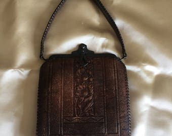 Vintage Small Mottled Leather Purse, dark green suede lining. Very good condition. From the early 1900's