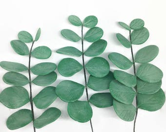 Eucalyptus leaf Spray READY TO SHIP green foliage for wedding cake toppers, gumpaste cake decorations, diy brides, bridal showers, greenery