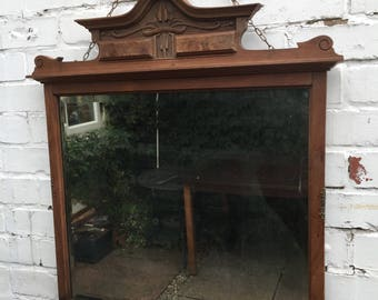 Old Wooden mirror - old oak mirror with lovely detail.