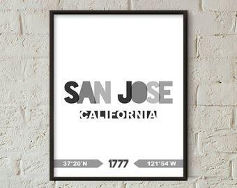 San Jose Print, San Jose Printable, San Jose Poster, San Jose Wall Art, San Jose Coordinates, San Jose Minimalist (W0215)