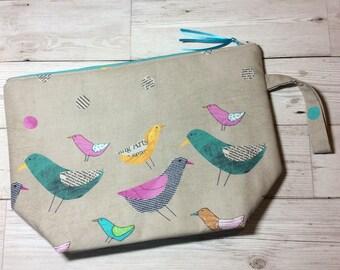 Zipped project bag - Bird Print