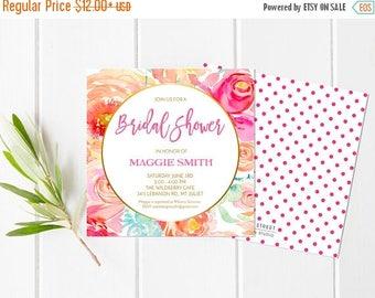 50% OFF Watercolor Floral Bridal Shower Invitation, Square Invite, Floral Bridal Shower, Bridal Shower Invite, Digital Invite, Printed