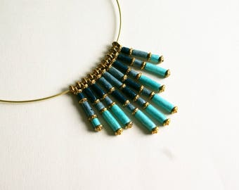 """Elegant angel """"Blue"""" necklace from paper, Indian, storm blue, sky blue and Blue Navy"""