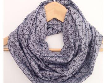 womens infinity scarf black grey geo