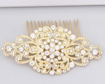Bridal Hair Comb Yellow Gold Wedding Headpiece Rhinestone Hair Comb Gold Wedding Hair Clip Art Deco Bridal Hair Accessories Bride Hair Piece