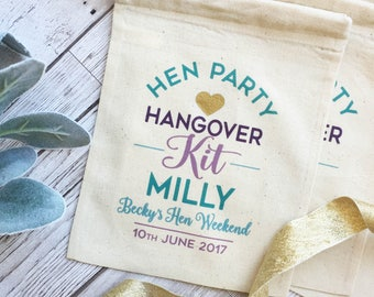 Hen Party kit gift bag. Personalised cotton gift bag for your hen party. Fun mermaid colours survival kit bag. Bachelorette bag.
