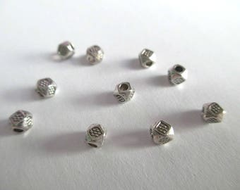 10 3.5 mm silver color metal spacer beads