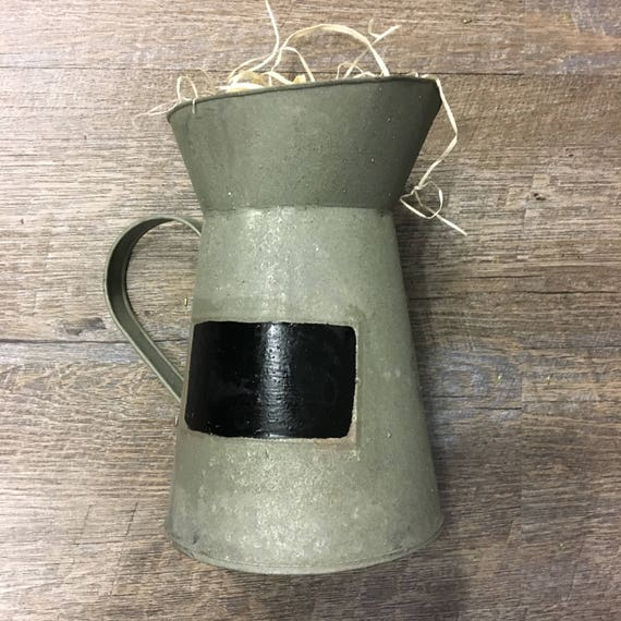 "7"" Tall Rustic Tin Pitcher with Chalkboard-"