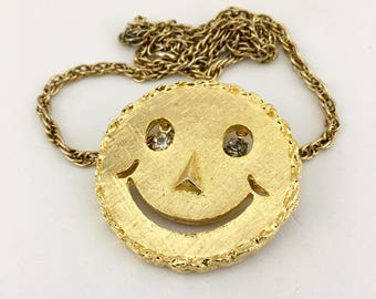 70s Smiley Face Necklace Rhinestone Eyes Long Gold Statement Necklace Figural Necklace