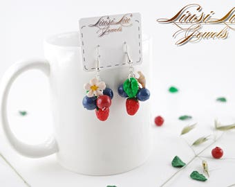Berry earrings- blueberry and strawberry earrings