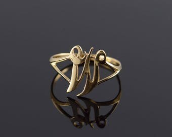 14k M W Initial Monogram Letter Cut Out Ring Gold