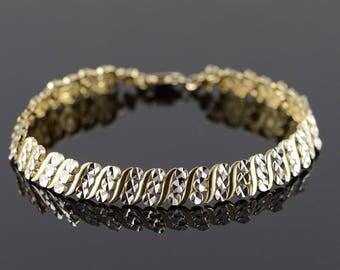 """10k Fancy Faceted Diamond Cut Link Bracelet Gold 6.9"""""""