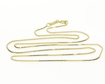 """14k 0.7mm Box Link Fancy Chain Necklace Gold 18"""""""
