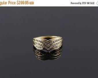 Big SALE 14k 0.50 CTW Diamond Chevron Weave Ring Gold
