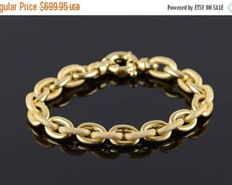 Big SALE 14k Hollow Textured Large Link Look Bracelet Gold 7.75""