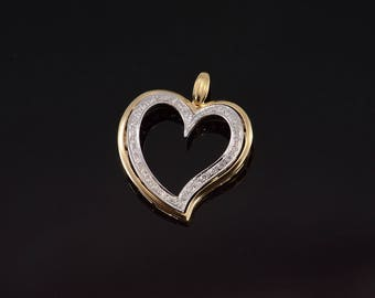 14k Diamond Encrusted Two Tone Wavy Heart Pendant Gold