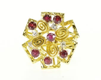 14k 1.38 Ctw Ruby Diamond Tiered Abstract Cluster Ring Gold