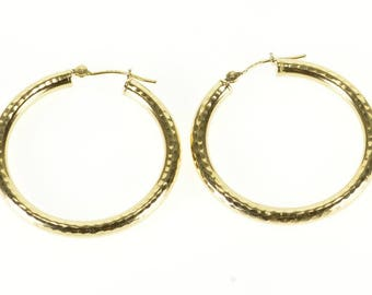 14k Hammered Textured Tube Hoop Earrings Gold