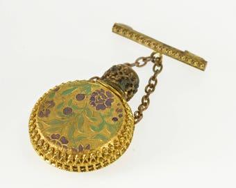 k Ornate Enamel Floral Leaf Patterned Perfume Bottle Pin/Brooch Gold Filled