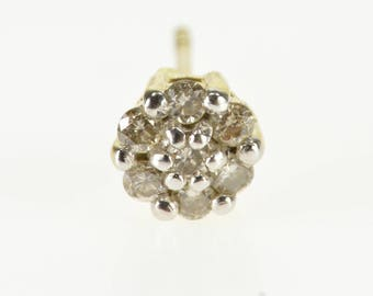 14K Single Diamond Inset Floral Cluster Stud Post Back Earring Yellow Gold