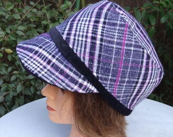 Woman black-purple-gray Scottish wool Cap - size 56-57cm