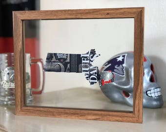 Sam Adams Massachusetts Custom Hand Cut Beer Can Art in a Floating Frame- Perfect for your Bar or Man Cave! Unique gift for him
