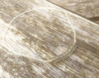 Sterling silver moss aquamarine bracelet