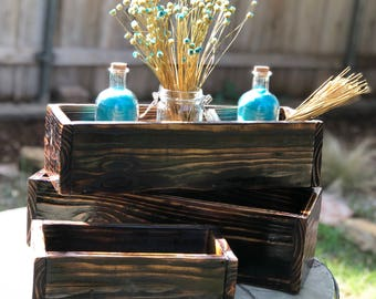 Reclaimed wood torched centerpiece box, rustic, Wood box centerpiece, Table centerpiece, Mantle centerpiece, Farm decor, Wedding centerpiece