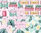 Vacation Mystery Bundle 8 Sheets Planner Sticker-Erin Condren Sticker-Happy Planner Stickers-Floral Stickers