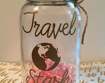 Vacation fund jar, Memory Jar, Money Jar, Treasure Jar, Vacation Savings jar, Coin jar, Savings jar, Travel fund, Travel Stash, Travel Fund