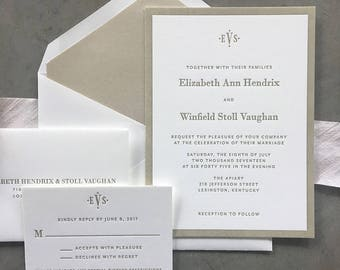 Sample Classic Vaughan wedding invitation suite