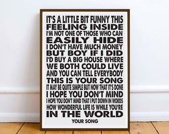 YOUR SONG lyrics print love romance gift  - Valentines - Elton John Goulding valentine