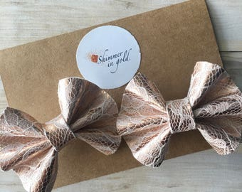 Rose Gold Lace Pig Tail Bows , Lace Pig Tail Bows , Spring Bows , Pig Tail Bows for Toddler