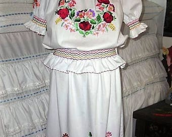 Traditional Kalocsa Hungarian Hand Embroidered folk art custom size