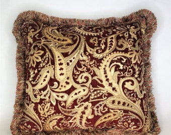 SALE large paisely embroidered dark red and gold chenille throw pillow with fringe for sofa or couch handmade in usa