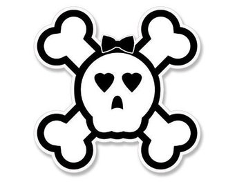 Female Jolly Roger Pirate Skull Sticker