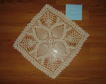 Crocheted Pineapple Square Doily