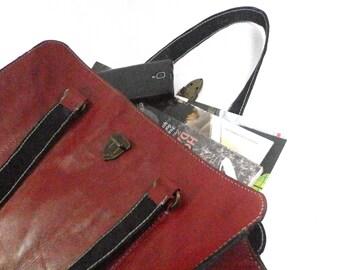 Ladies Leather Handbags.Handmade red leather handbag